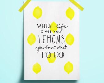 Superieur Party Summer Lemonade Decor Lemon Collectibles Lettering Lettering Yellow  Drink Fresh Quote Print Sign Art Gift