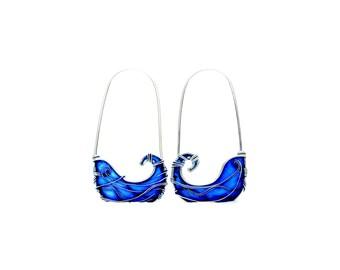 Blue Hoop Earrings. Waves Earrings. Blue Earrings. Sterling Silver Earrings. Sea Earrings. Summer Earrings. Ultramarine Jewelry.