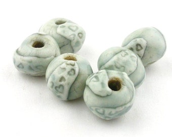 Round Ceramic Beads, Ceramic beads, Handmade Round Beads, Porcelain Beads, heart beads, light blue beads, set of beads, blue beads