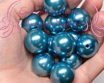 20mm Teal Acrylic Pearl Beads Qty 10, Bubblegum Beads, Chunky Beads, Gumball Beads