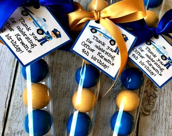 Policeman Gumball Tube Favors - Police party favor - police car party favor - police man party favor - boys party favor - police party