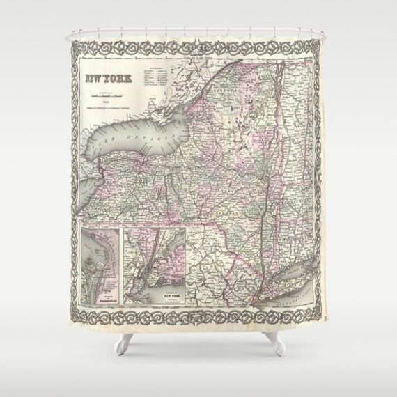 Old New York Map Shower Curtain, Vintage New York Map Shower Curtain, Bathroom, New York Map Home, Dorm, Vintage Map Decor, Geography Decor