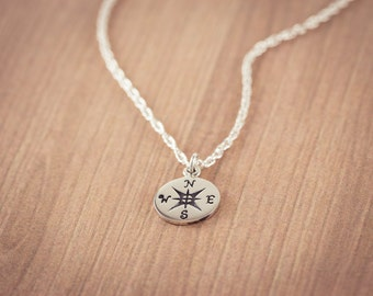 SALE! Compass Necklace, Sterling Silver Compass, Travel Compass charm, Compass Pendant, Graduation Gifts, Friendship necklace