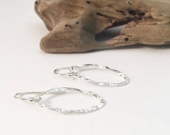 Silver Hammered Oval Earrings E462SS - handmade by cristysjewelry