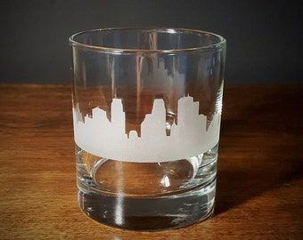 Minneapolis Skyline Old Fashioned Whiskey/Lowball Glass