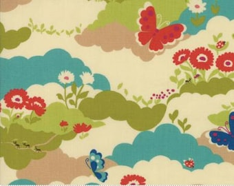 Lucky Day by Momo for Moda - Butterfly Field - Cream - Fat Quarter FQ Cotton Quilt Fabric 817