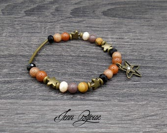 Designer jewelry - star bronze beaded Bracelet in beige and Black - Brown jade and metal beads