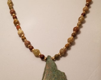 Warm Fall Colored Stone and Glass Bead Necklace