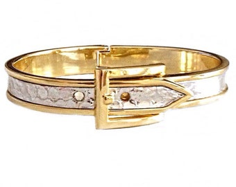 Gold Buckle Bracelet With Metallic Silver Genuine Snakeskin  - by UNEARTHED