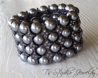 Pearl Cuff Bracelet Multi Strand with Dark Grey Pearls