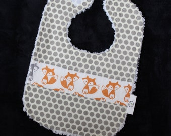 Orange and Gray Foxes and Dots Chenille Bib