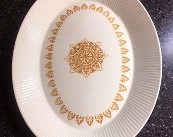 Sheffield Serenade Oval Serving Platter Gold Medallion Mid Century Dish