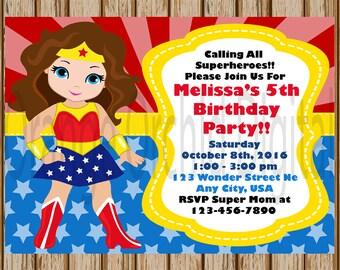 "Brunette Wonder Woman Birthday Invitations- Wonder Woman Party- Girls Superhero Birthday- Superhero Invitations - 5"" x 7"" size- Digital Item"