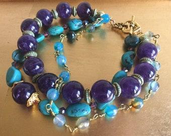 Amethyst, turquoise, bracelet, three strand
