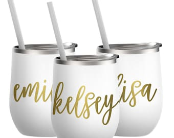 Stemless wine glasses, wine tumbler, tumbler, personalized wine stainless, wedding bridesmaid, stainless steel, tumbler with lid and straw