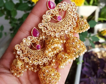 Ruby and Gold Chandelier Earrings, Indian Earrings, Indian Jewelry, Indian Wedding Jewelry, Indian Nose Ring, Dupatta, Indian Bridal Jewelry