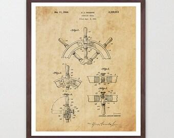 Ship's Wheel - Sailing Poster - Sailing Patent - Vintage Sailboat - Sail Boat - Maritime Poster - Nautical Poster - Maritime Wall Art