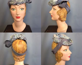 1940s tilt hat in shades of blue