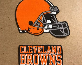 Cleveland Browns iron on applique NFL patch set of 2