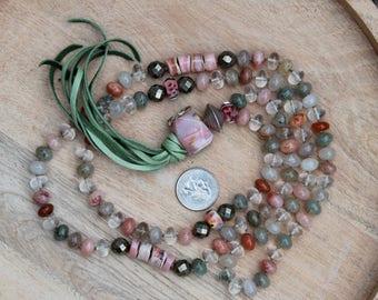 ZenHappy Heirloom Mala Bead Necklace with Tassel - Rutile Quartz, Pink Opal, Pyrite, Sterling Silver, Handmade Lampwork Beads; Boho Necklace