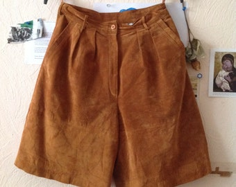 70s Wide Leg Shorts Camel Suede Culottes Skorts US 6 Small Medium
