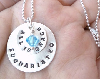 EUCHARISTEO - Custom Hand Stamped Sterling Silver Necklace with two silver discs and one pearl or crystal