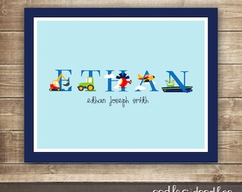 Transportation Boy's Printable Art / Cars, Trucks, Vehicles ,Personalized Artwork  / Alphabet Art   - Printable