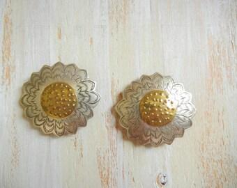 Vintage Sunflower Barrettes | Gold and Silver Sunflower Barrettes