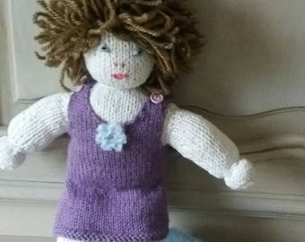 Blue and purple knitted doll