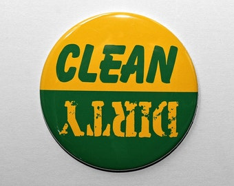 Clean Dirty Dishwasher Magnet - Yellow and Green - 3 inch