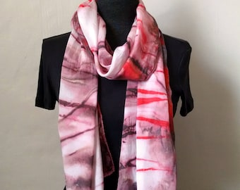 Brown Silk Scarf, Handpainted Red Brown Silk Scarf, Abstract Scarf, Striped Scarf, 14x68 inches, Urban Scarf, Unisex Scarf