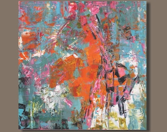 FREE SHIP abstract art, orange gray turquoise, abstract expressionism, modern art, canvas, original art, bold color, expressionist painting