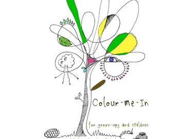 Colour-Me-In colouring book, download pdf, original art  drawings by melanie j cook