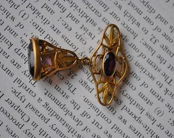 Ancien verre améthyste montre gousset - années 1900 Art Nouveau doré or Fob, boucle Fob, livraison gratuite
