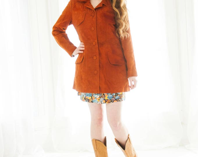 Vintage burnt orange suede jacket, rust red brown boho retro S M 1970s coat