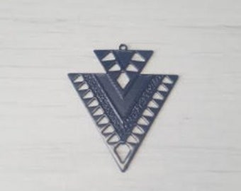 Print filigree double Navy blue triangles