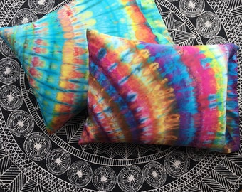 Rainbow Eucalyptus Silk Pillowcase Set - Tie Dye Pillow - Bohemian Bedding