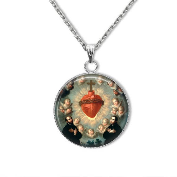 Sacred Heart of Jesus Pendant, Stainless Steel Pendant with 18 or 24 inch chain - Catholic Jewelry, Sacred Heart Necklace