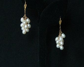 White Pearl Earrings, Pearl Dangle Earrings, 14K Gold Earrings, Lever Back Earrings, Gold Earrings, Pearl Earrings, 14K Dangle Earrings