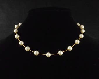 Faux Pearl and Gold Tone Chain Necklace