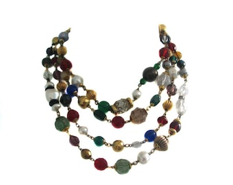 Beautiful glass beads and faceted Crystal vintage beads necklace