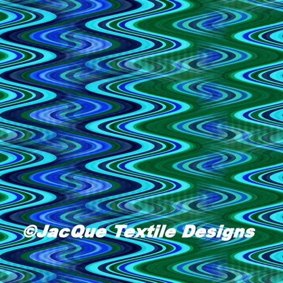 Artisan Handmade Spandex Knit Blue Green Fabric By The Yard Athletic Apparel Swimwear Swim Suit