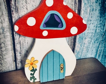 Toadstool Fairy House Wall hanging, by Tiggymus & Co