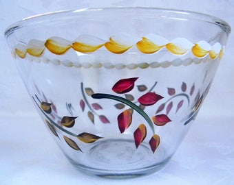 Serving bowl, hand painted bowl, glass bowl, dinnerware, fruit bowl, salad bowl,