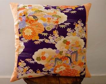 Tangerine Orange Purple Mauve Floral Cloud Vintage Japanese Silk Wool Kimono Fabric Pillow Cushion Cover 2
