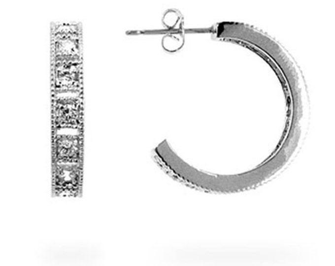 CZ Earrings, Cubic Zirconia Hoop Earrings, Cubic Zirconia Earrings, CZ Hoop Earrings, Silver Hoop Earrings, Rhinestone Hoop Earrings