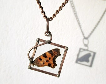 real butterfly wing necklace, terrarium necklace, copperplate, handmade