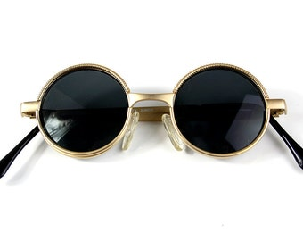 Vintage Round Steampunk sunglasses small round gold sunglasses  Retro Victorian sunglasses eye glasses spectacles Hi Tek Ozzy Osbourne style