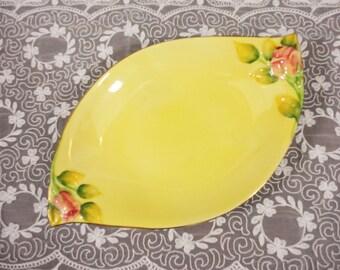 Royal Winton Yellow Rosebud Long Bowl/Dish - 1938