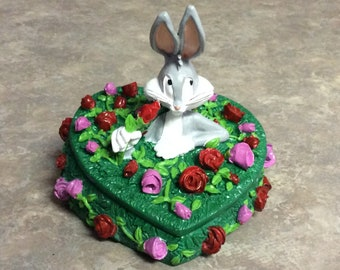 Bugs Bunny's heart shape floral trinket box, FIGI Graphics.